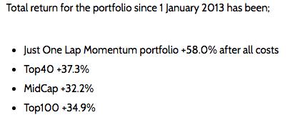 Momentum portfolio life time returns